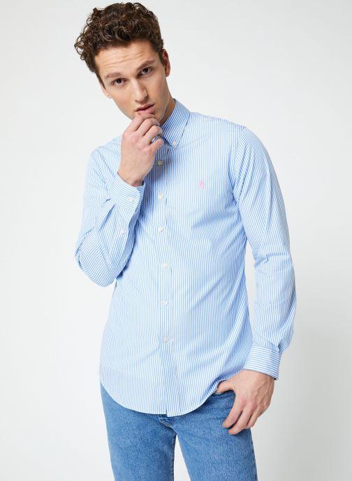 Vêtements Polo Ralph Lauren Chemise ML Poplin Slim Pony Blanc vue droite