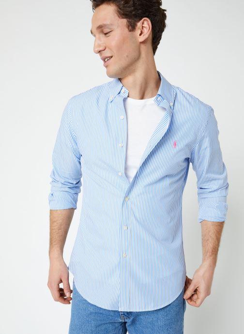 Vêtements Polo Ralph Lauren Chemise ML Poplin Slim Pony Blanc vue détail/paire