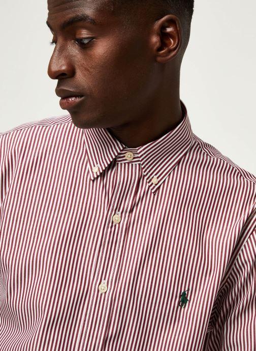 Vêtements Polo Ralph Lauren Chemise ML Poplin Slim Pony Rouge vue face