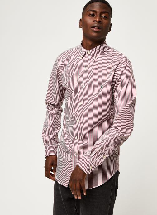 Vêtements Polo Ralph Lauren Chemise ML Poplin Slim Pony Rouge vue droite
