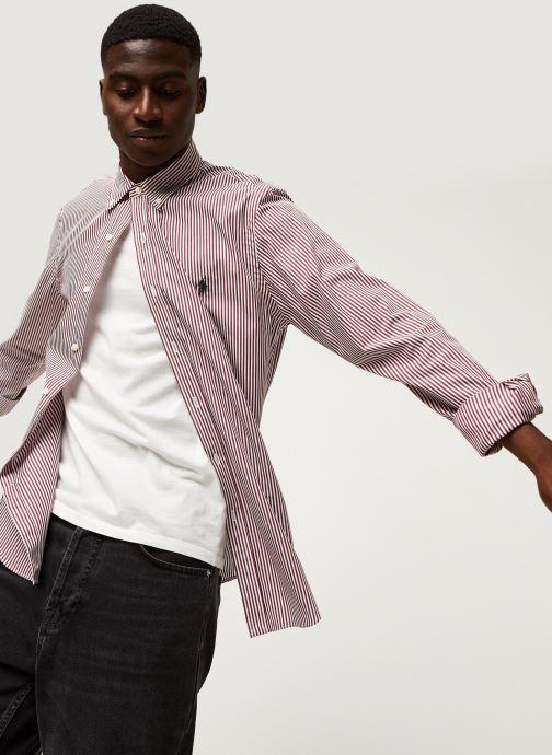 Vêtements Polo Ralph Lauren Chemise ML Poplin Slim Pony Rouge vue détail/paire