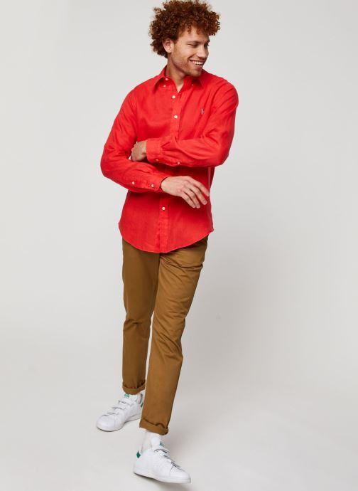 Vêtements Polo Ralph Lauren Chemise ML Lin Custom Pony Rouge vue bas / vue portée sac
