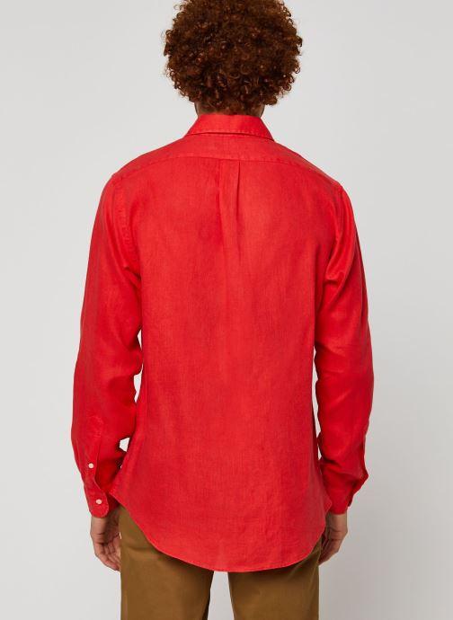 Vêtements Polo Ralph Lauren Chemise ML Lin Custom Pony Rouge vue portées chaussures