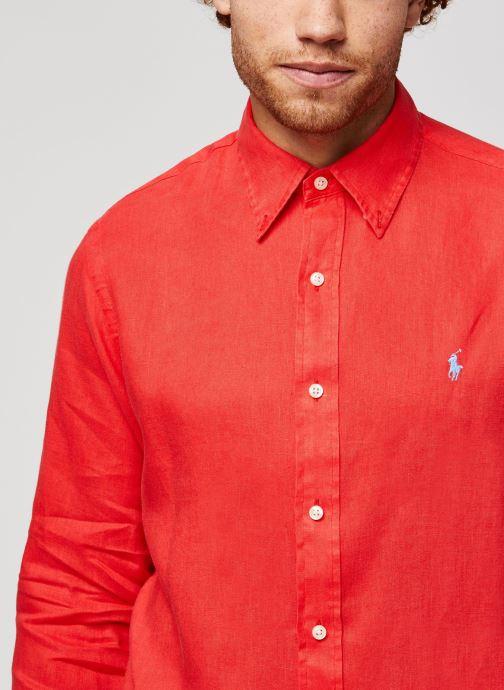Vêtements Polo Ralph Lauren Chemise ML Lin Custom Pony Rouge vue face
