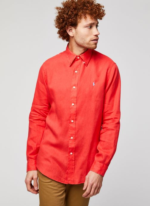 Vêtements Polo Ralph Lauren Chemise ML Lin Custom Pony Rouge vue droite