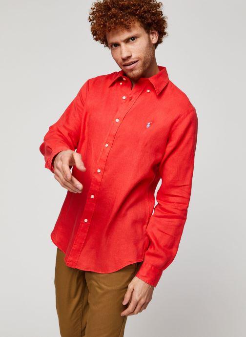 Vêtements Polo Ralph Lauren Chemise ML Lin Custom Pony Rouge vue détail/paire