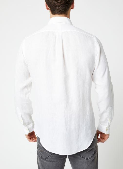 Vêtements Polo Ralph Lauren Chemise ML Lin Custom Pony Blanc vue portées chaussures