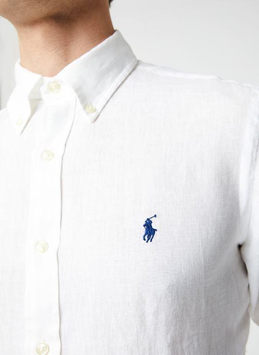 Vêtements Polo Ralph Lauren Chemise ML Lin Custom Pony Blanc vue face