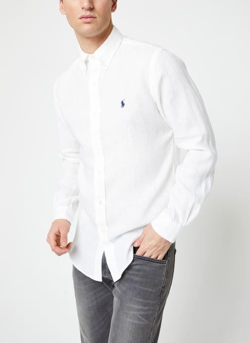 Vêtements Polo Ralph Lauren Chemise ML Lin Custom Pony Blanc vue droite