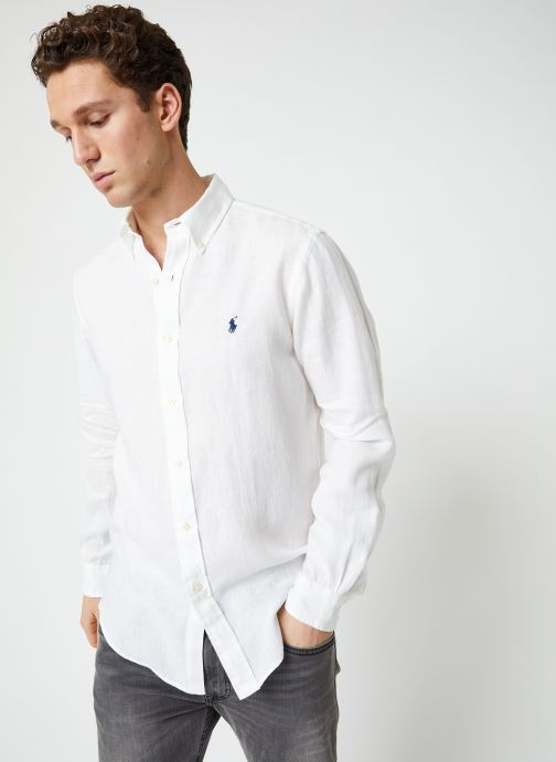Vêtements Polo Ralph Lauren Chemise ML Lin Custom Pony Blanc vue détail/paire