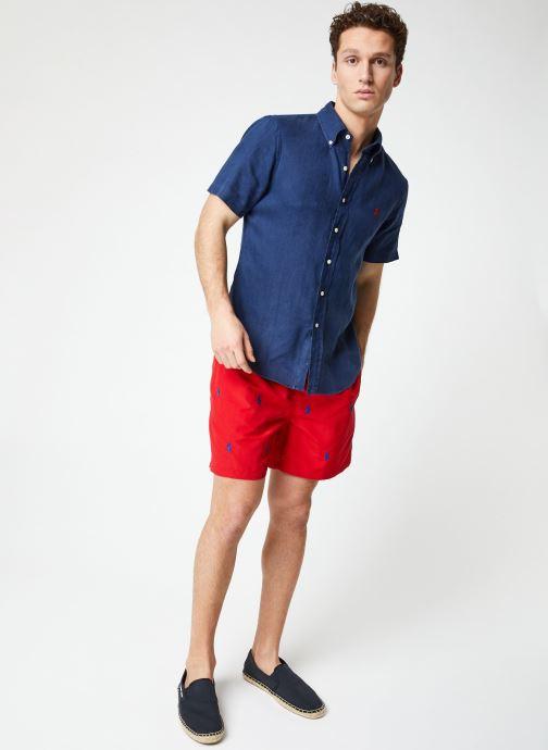 Vêtements Polo Ralph Lauren Chemise MC Lin Custom Pony Bleu vue bas / vue portée sac