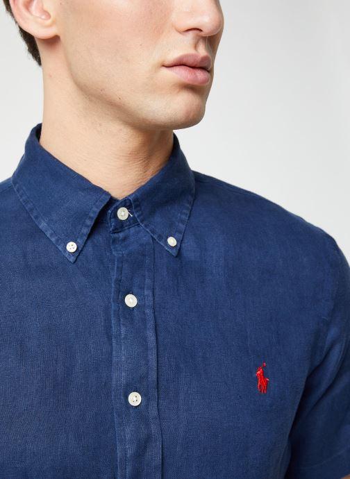 Vêtements Polo Ralph Lauren Chemise MC Lin Custom Pony Bleu vue face