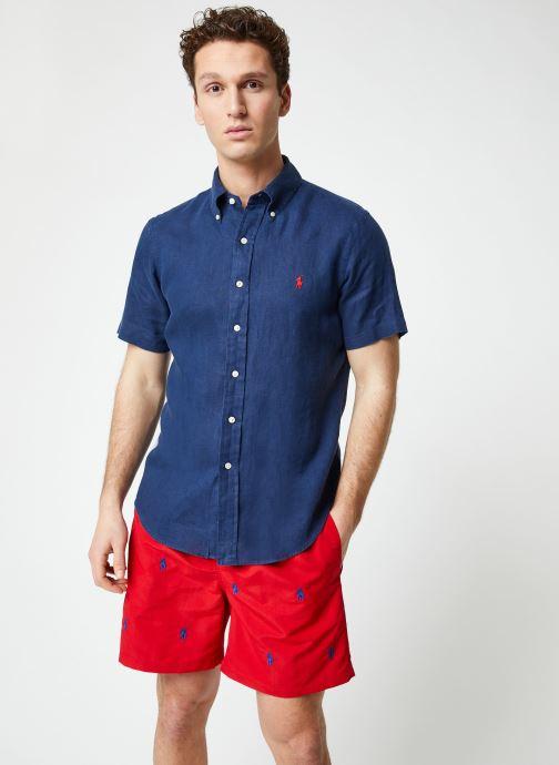 Vêtements Polo Ralph Lauren Chemise MC Lin Custom Pony Bleu vue droite