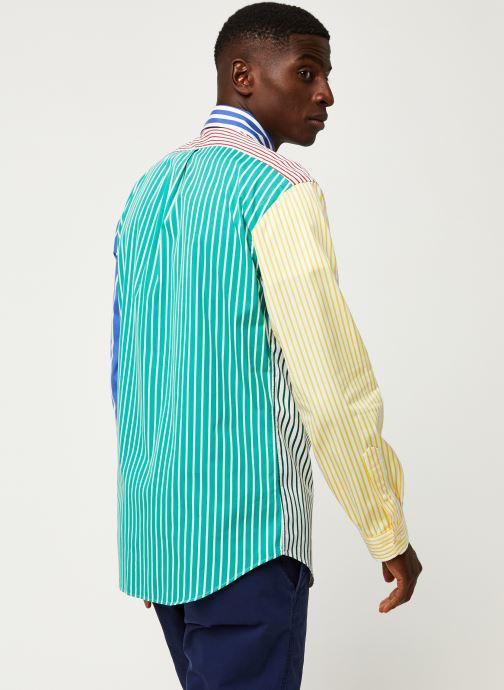 Vêtements Polo Ralph Lauren Chemise ML Fun Shirt Slim Pony Blanc vue portées chaussures