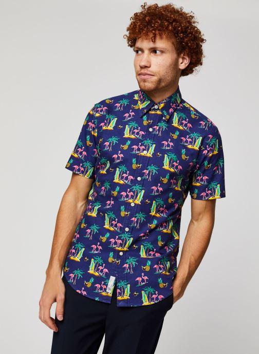 Vêtements Polo Ralph Lauren Chemise MC Print Oxford Slim Pony Bleu vue détail/paire