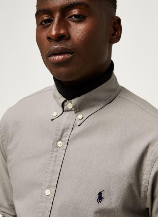 Vêtements Polo Ralph Lauren Chemise ML Oxford Custom Pony Gris vue face