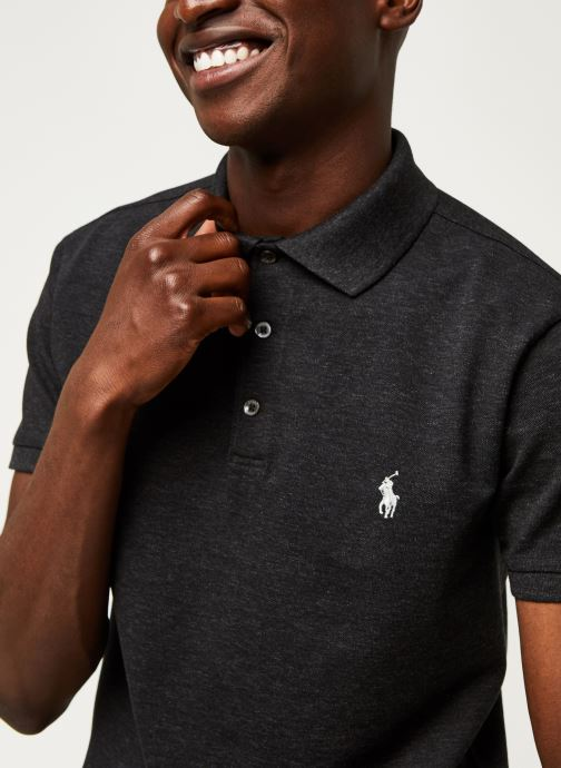 Vêtements Polo Ralph Lauren Polo MC Classic Pony Slim Stretch Mesh Noir vue face