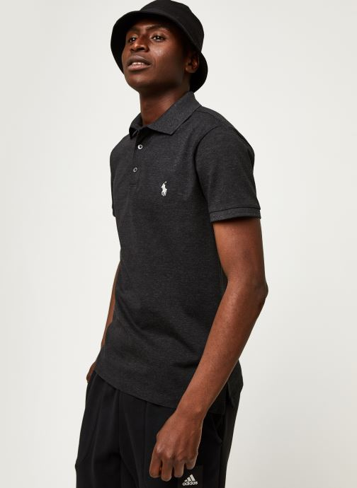 Vêtements Polo Ralph Lauren Polo MC Classic Pony Slim Stretch Mesh Noir vue détail/paire