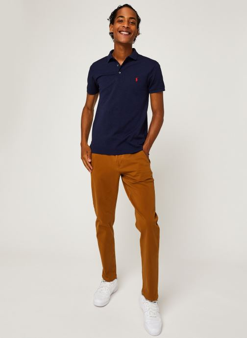 Vêtements Polo Ralph Lauren Polo MC Classic Pony Slim Stretch Mesh Bleu vue bas / vue portée sac