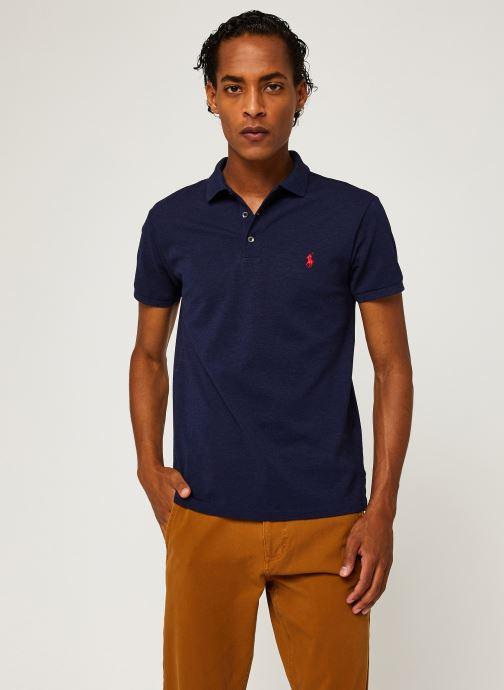 Vêtements Polo Ralph Lauren Polo MC Classic Pony Slim Stretch Mesh Bleu vue droite