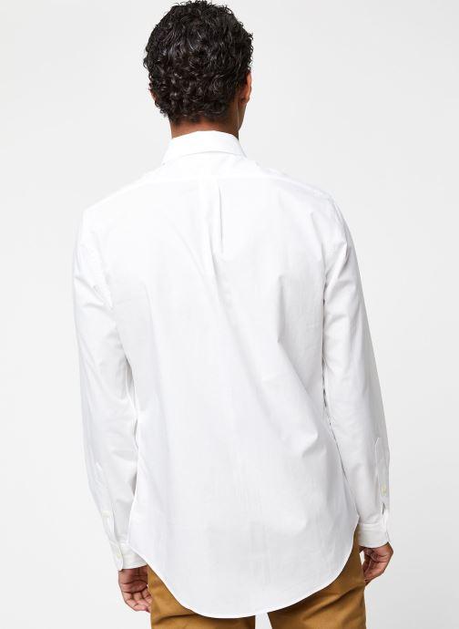 Vêtements Polo Ralph Lauren Chemise ML Classic Stretch Poppeline Pony Blanc vue portées chaussures