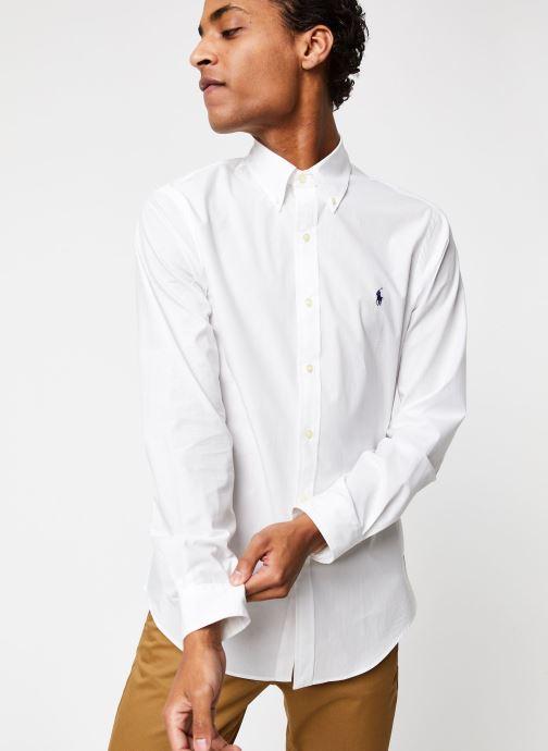 Vêtements Polo Ralph Lauren Chemise ML Classic Stretch Poppeline Pony Blanc vue droite