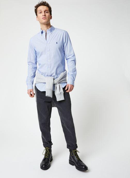Vêtements Polo Ralph Lauren Chemise ML Classic Stretch Poppeline Pony Bleu vue bas / vue portée sac