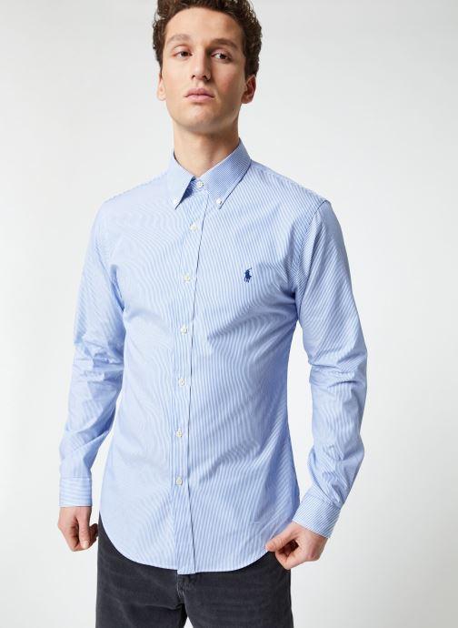 Vêtements Polo Ralph Lauren Chemise ML Classic Stretch Poppeline Pony Bleu vue droite