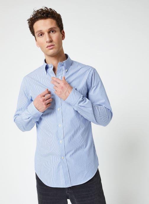Vêtements Polo Ralph Lauren Chemise ML Classic Stretch Poppeline Pony Bleu vue détail/paire