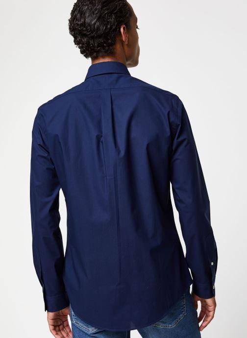 Vêtements Polo Ralph Lauren Chemise ML Classic Stretch Poppeline Pony Bleu vue portées chaussures