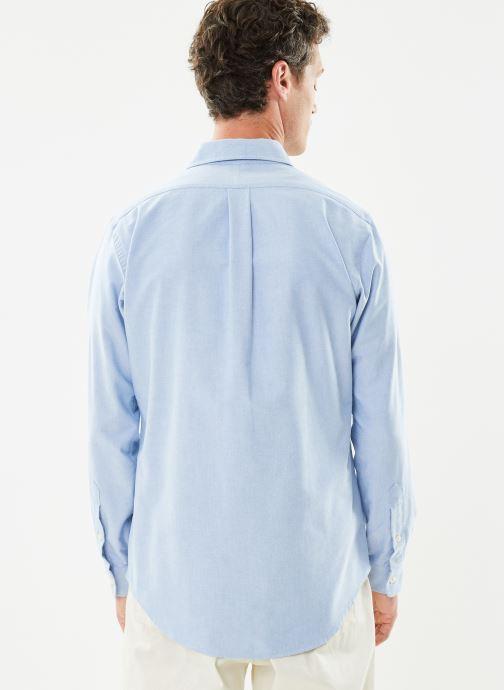 Vêtements Polo Ralph Lauren Chemise ML Custom Oxford Pony Bleu vue portées chaussures