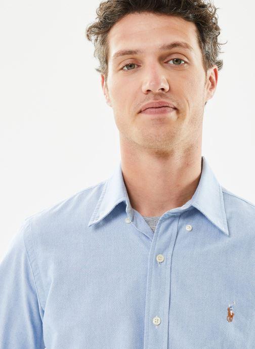 Vêtements Polo Ralph Lauren Chemise ML Custom Oxford Pony Bleu vue face