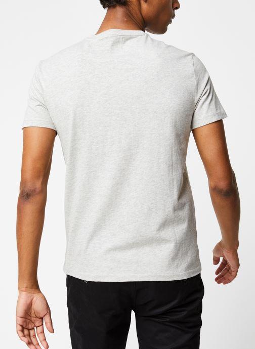 Vêtements Polo Ralph Lauren T-Shirt MC Classic Pony Custom Slim Jersy Gris vue portées chaussures
