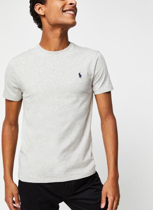 Vêtements Polo Ralph Lauren T-Shirt MC Classic Pony Custom Slim Jersy Gris vue droite