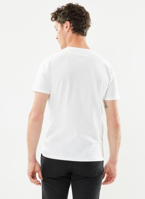 Vêtements Polo Ralph Lauren T-Shirt MC Classic Pony Custom Slim Jersy Blanc vue portées chaussures