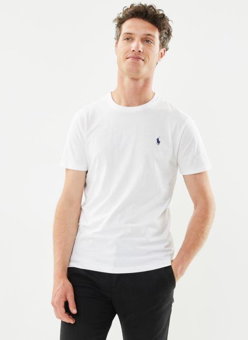 Vêtements Polo Ralph Lauren T-Shirt MC Classic Pony Custom Slim Jersy Blanc vue détail/paire