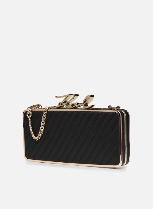 Handtaschen Karl Lagerfeld K/Signature Lock Minaudiere schwarz schuhe getragen