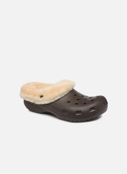 Sandals Crocs Classic Mammoth Luxe Clogs Brown detailed view/ Pair view