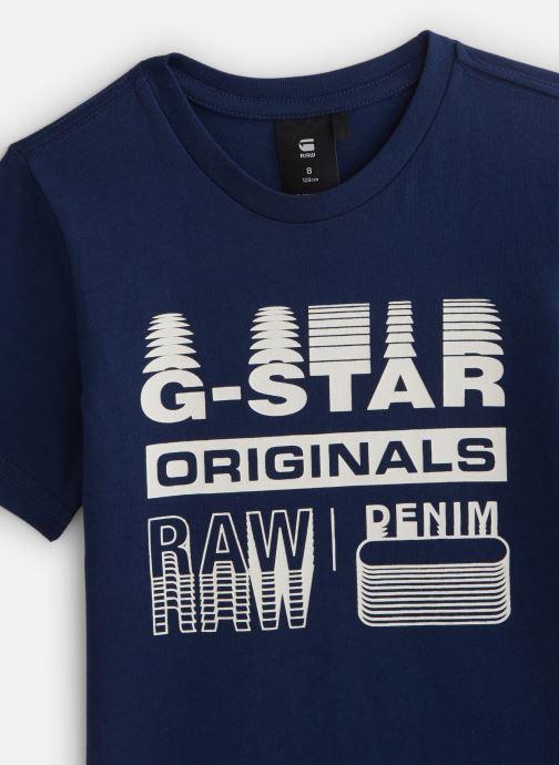 Vêtements G-Star Tee-shirt imprimé - Imperial Blue Bleu vue portées chaussures