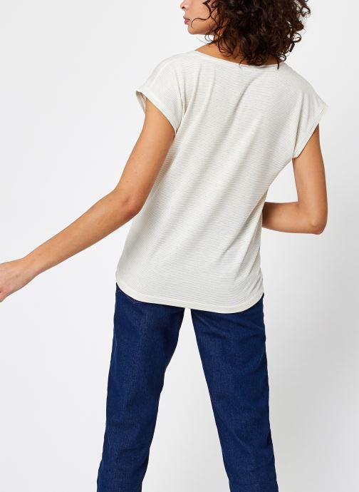 Vêtements Pieces T-Shirt Pcbillo Tee Lurex Stripes Noos Blanc vue portées chaussures