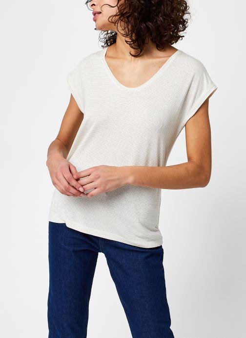 Vêtements Pieces T-Shirt Pcbillo Tee Lurex Stripes Noos Blanc vue droite