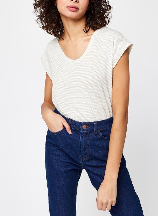 Vêtements Pieces T-Shirt Pcbillo Tee Lurex Stripes Noos Blanc vue détail/paire