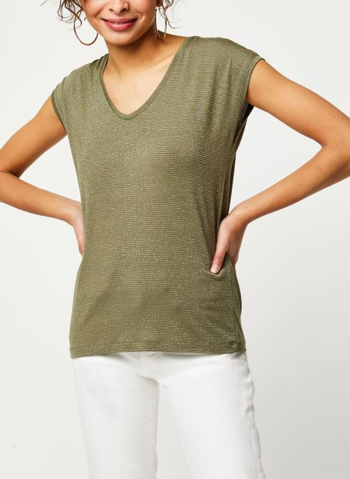 Vêtements Pieces T-Shirt Pcbillo Tee Lurex Stripes Noos Vert vue droite