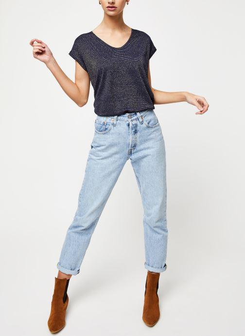 Vêtements Pieces T-Shirt Pcbillo Tee Lurex Stripes Noos Bleu vue bas / vue portée sac