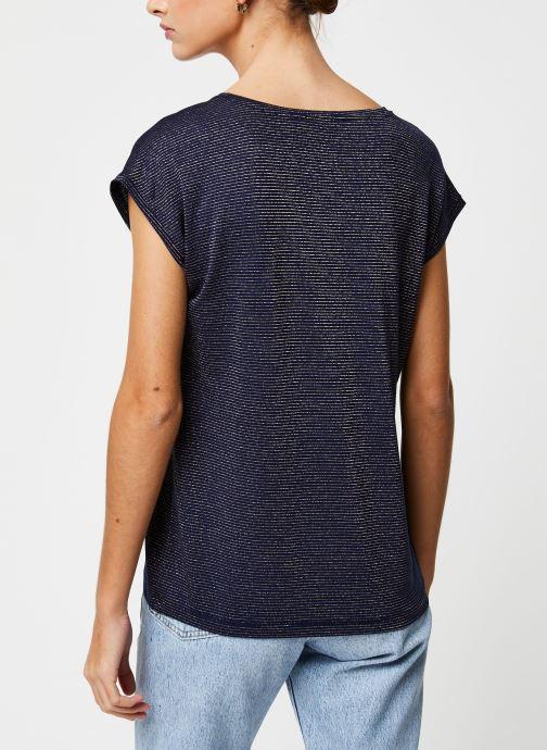 Vêtements Pieces T-Shirt Pcbillo Tee Lurex Stripes Noos Bleu vue portées chaussures