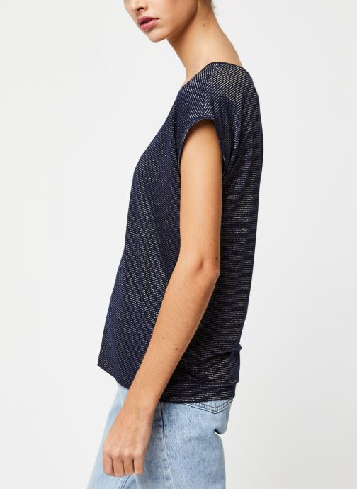 Vêtements Pieces T-Shirt Pcbillo Tee Lurex Stripes Noos Bleu vue droite