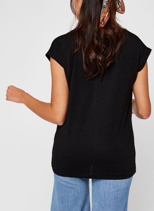 Vêtements Pieces T-Shirt Pcbillo Tee Lurex Stripes Noos Noir vue portées chaussures