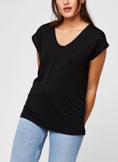Vêtements Pieces T-Shirt Pcbillo Tee Lurex Stripes Noos Noir vue droite