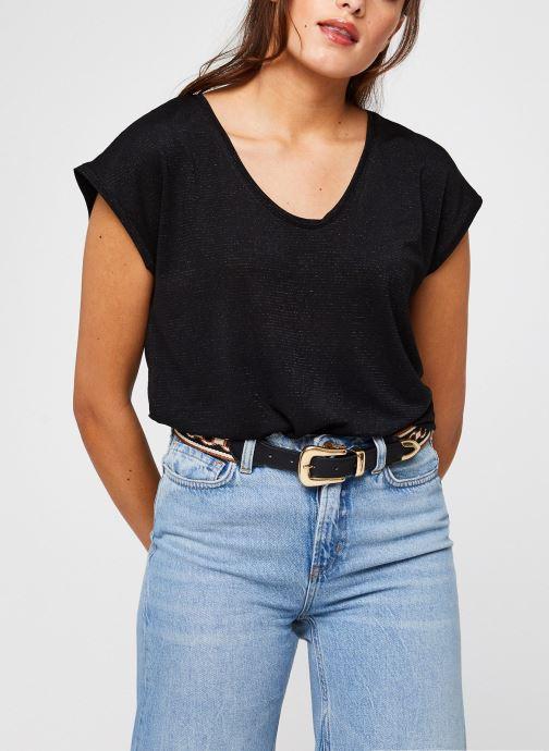 Kleding Pieces T-Shirt Pcbillo Tee Lurex Stripes Noos Zwart detail