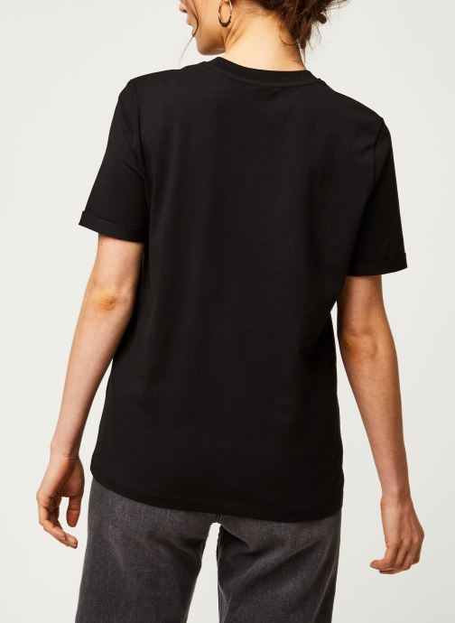Vêtements Pieces T-Shirt Pcria Ss Fold Up Solid Tee Noos Bc Noir vue portées chaussures